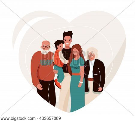 Happy Family Vector Illustration In Heart Shape. Father, Mother, Grandfather, Grandmother, Child Hug