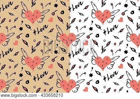 Heart Doodle Seamless Pattern. Vector. Hand Drawn Sketch, Black Ink Brush Stroke Isolated Elements,