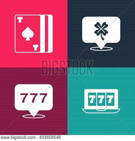 Set Pop Art Online Slot Machine With Jackpot, Slot, Casino Clover And Deck Of Playing Cards Icon. Ve