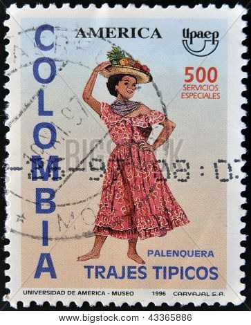 COLOMBIA - CIRCA 1996: A stamp printed in Colombia dedicated to traditional dress, shows palenquera