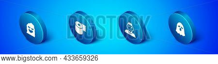 Set Isometric Funny And Scary Ghost Mask, Priest, Ghost And Toilet Paper Roll Icon. Vector