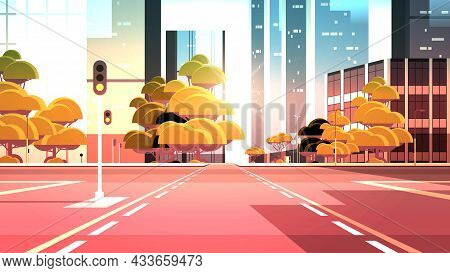 Empty Street Road With Crossroad And Traffic Lights City Buildings Skyline Modern Architecture Sunse