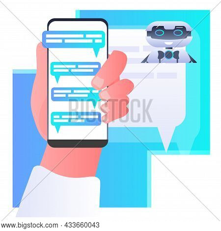 Human Hand Discussing With Robot Chatbot Assistant Voice Messages Audio Chat Application Online Comm