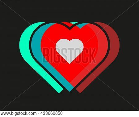 Heartbeat Logo On A Black Background. Hearts Of Different Colors Are Combined.
