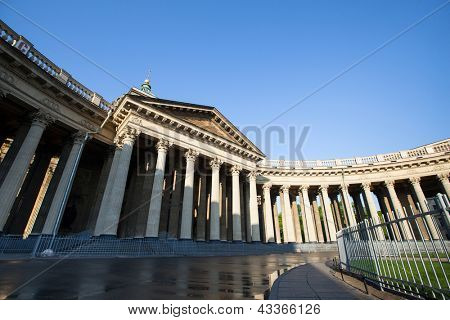 ST.PETERSBURG, RUSSIA - MAY 21: Kazan Cathedral or Kazanskiy Kafedralniy Sobor in May 21, 2012 in St.Petersburg, Russia. The construction was started in 1801 and continued for 10 years.