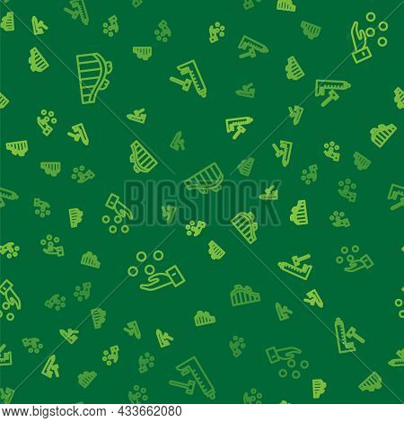 Set Line Roller Coaster, Juggling Ball And Striker Attraction With Hammer On Seamless Pattern. Vecto
