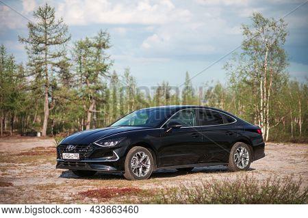 Novyy Urengoy, Russia - June 14, 2021: Modern Luxury Car Hyundai Sonata In A Northern Tundra.