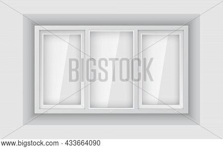 Large Triple Plastic Window On White Wall. Realistic Plastic Window Mockup Template. White Windowpan