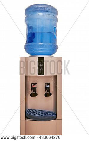 Water Cooler Gallon In Office Against Wall Background. Blue Water Gallon On Electric Water Cooler. O