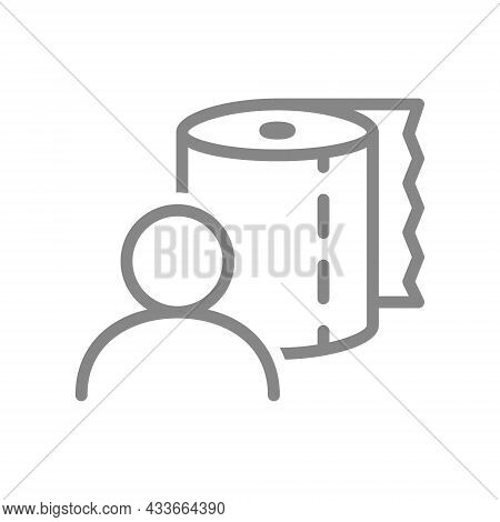Paper Towels And User Line Icon. Paper Roll, Napkins, Wet Wipes, Wipes For Intimate Hygiene Symbol