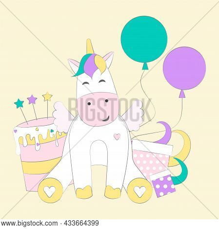 Unicorn Vector Illustration In Flat Cartoon Style. Vector Unicorn With Cake And Present Boxes, Isola