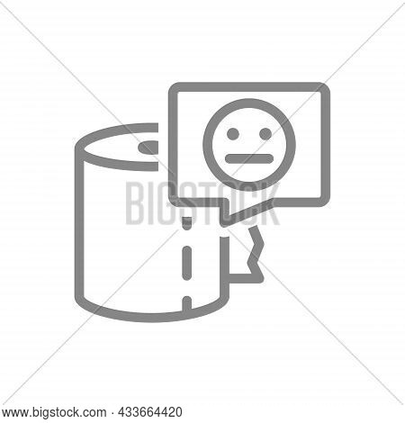 Paper Towels And Neutral Face In Speech Buble Line Icon. Paper Roll, Napkins, Negative Product Evalu