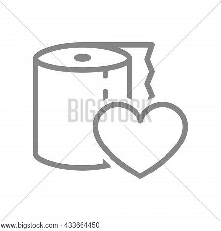 Paper Towels And Heart Line Icon. Napkins, Positive Product Evaluation, High Quality Paper Symbol