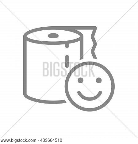 Paper Towels And Happy Face Line Icon. Napkins, Positive Product Evaluation, High Quality Paper Symb