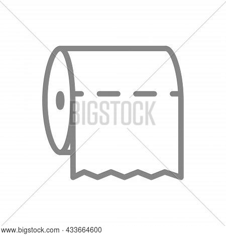 Toilet Paper In A Horizontal Position Line Icon. Paper Roll, Napkins, Tear-off Strip, Hygiene Produc