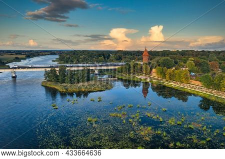 Beautiful scenery of Malbork city over the Nogat river, Poland