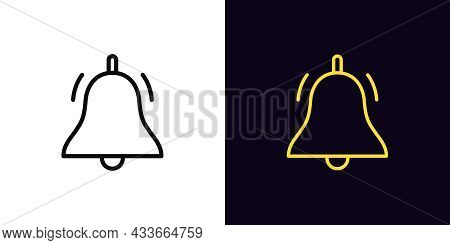 Outline Bell Icon, With Editable Stroke. Linear Bell Sign, Notification Pictogram. Online Push Notif