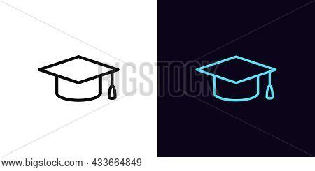 Outline Academic Hat Icon, With Editable Stroke. Linear Mortarboard Sign, Education Pictogram. Onlin