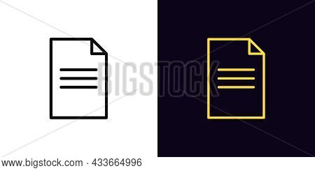 Outline Document Icon, With Editable Stroke. Linear Contract Sign, Doc Page Pictogram. Online Docume
