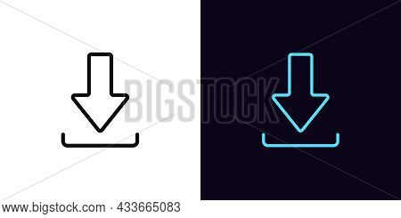 Outline Download Icon, With Editable Stroke. Linear Download Sign, Arrow Pictogram. Online Data Savi