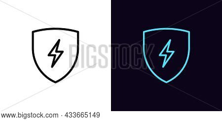 Outline Electric Shield Icon, With Editable Stroke. Shield With Lightning Sign, Charge Pictogram. Sa