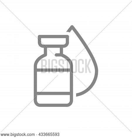 Medical Ampoule With Drop Line Icon. Vaccine, Immunization, Serum, Blood Donation Symbol