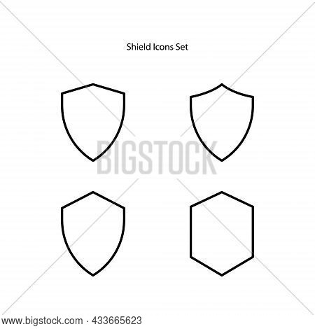 Shield Icons Set Isolated On White Background. Shield Icon Thin Line Outline Linear Shield Symbol Fo