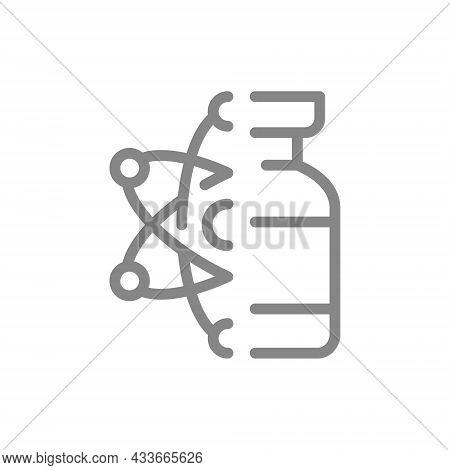 Medical Ampoule And Atom Line Icon. Vaccine, Serum, Vaccine Development, Nuclear Medicine Symbol