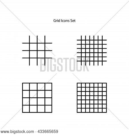 Grid Icons Set Isolated On White Background. Grid Icon Thin Line Outline Linear Grid Symbol For Logo