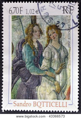 FRANCE - CIRCA 2000: A stamp printed in France shows a work of Sandro Botticelli circa 2000