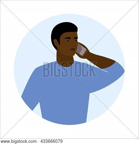 African American Man Call Mobile Phone Working As Helpdesk Or User Support Operator. Guy Talking Cel