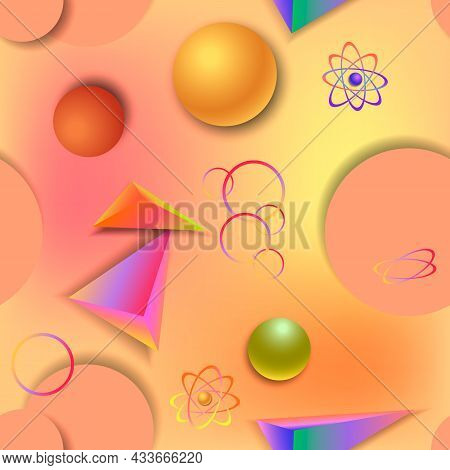 Abstract Background Of Geometric Shapes.bright Geometric Shapes With Shadows On A Colored Background