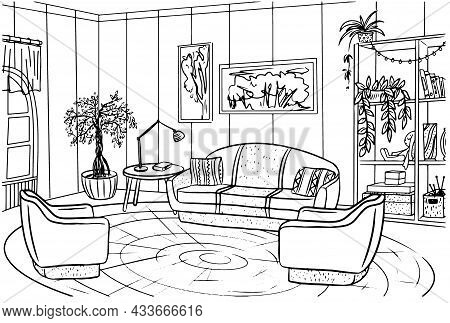 Coloring Book Interior Of The Living Room With A Sofa And A Table With A Lamp, Contour Black-and-whi