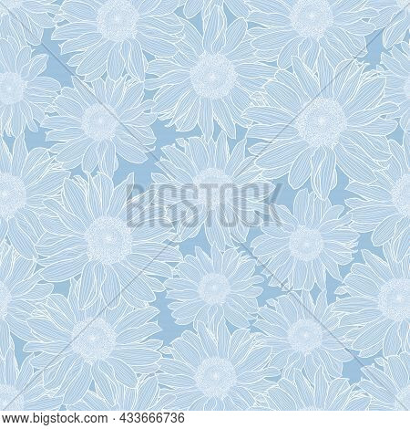 Vector Seamless Pattern Of Chamomile Flowers In Light Blue Pastel Colors With White Outline. Decorat