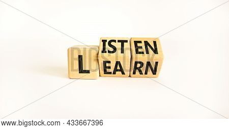Listen And Learn Symbol. Turned Wooden Cubes And Chaged A Concept Word 'listen' To 'learn' On A Beau