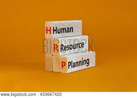 Hrp, Human Resource Planning Symbol. Words Hrp, Human Resource Planning Symbol On Blocks On A Beauti