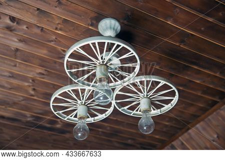 Group Of Hanging Lights In Coffee Shop With Shallow Depth Of Field, Interior Design . Modern Hanging