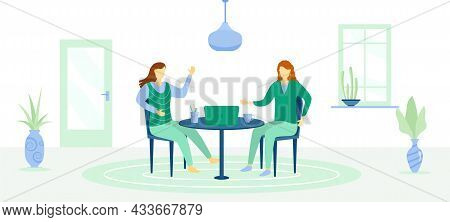 Working From Home, Coworking Space. Characters People At Home On Quarantine. The Concept Of Work At