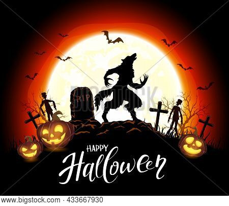 Lettering Happy Halloween And Werewolf In Cemetery On Orange Background With Moon And Pumpkins. Illu