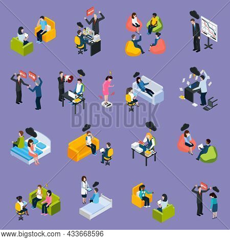 Depression And Stress Isometric Icons With Different Negative Situations People Conflicts Troubles A