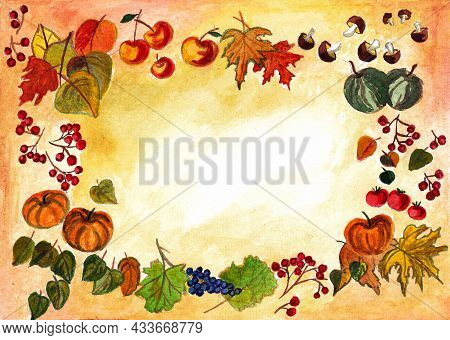 Thanksgiving Day, Watercolor Drawing Of Vegetables, Pumpkins, Leaves, Watermelons, Grapes, Tomatoes,
