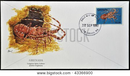 A postcard printed in in Grenada shows longarm spiny lobster justitia longimana