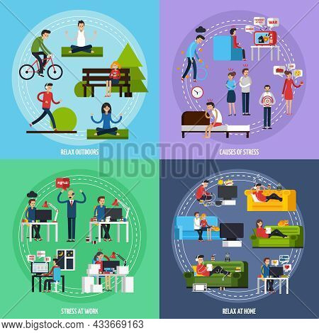 Stress And Relax Template With Stressful Situations And Ways Of Relaxation In Flat Style Vector Illu