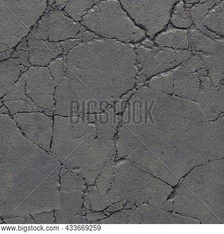 A Heavy, Cracked Concrete Sidewalk. The Gray Concrete Background Is Badly Destroyed, With Cracks. Gr