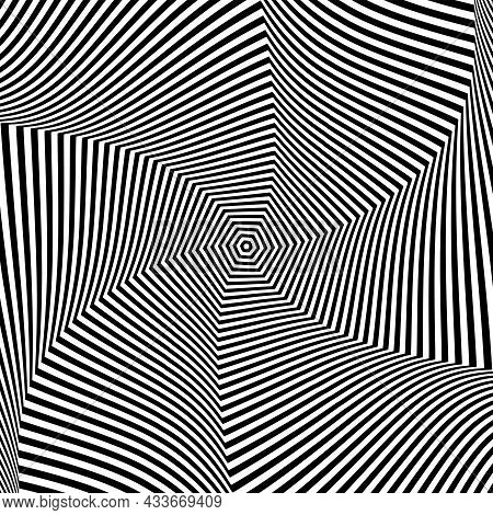 Illusion Of Rotation Swirling Movement In Abstract Op Art Design. Lines Texture. Vector Illustration
