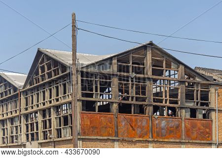 Factory Building Structure Damaged By Fire Incident