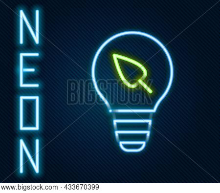 Glowing Neon Line Light Bulb With Leaf Icon Isolated On Black Background. Eco Energy Concept. Altern