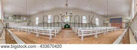 Panoramic View Inside The Moravian Church Salshuset In The Protestant Settlement Christiansfeld, Den