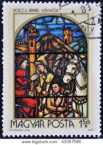 stamp printed in Hungary shows Stained-glass Window Prince Arpad's Messenger by Jeno Percz