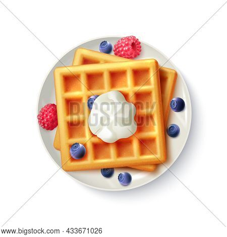 Breakfast Menu Item Sweet Belgian Waffles With Blueberry Raspberry And Cream Realistic Top View  Pla